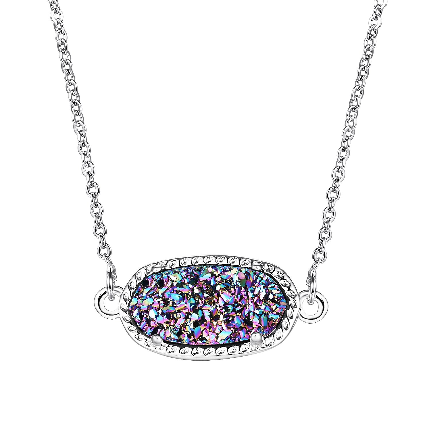WISHMISS ''FAMILY'S LOVE Adjustable Chain Necklace in Natural Multi-color Druzy for Mother &Daughter with Card and Gift Box, Rare Gift Idea for Women
