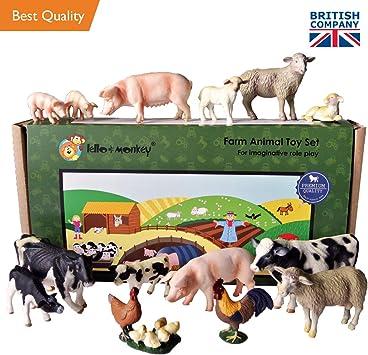 Lello & Monkey Granja Animal de Juguete de plástico Figuras Caja de Juego de 15: Amazon.es: Juguetes y juegos