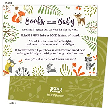 Amazon Woodland Baby Shower Book Request Cards With Owl And