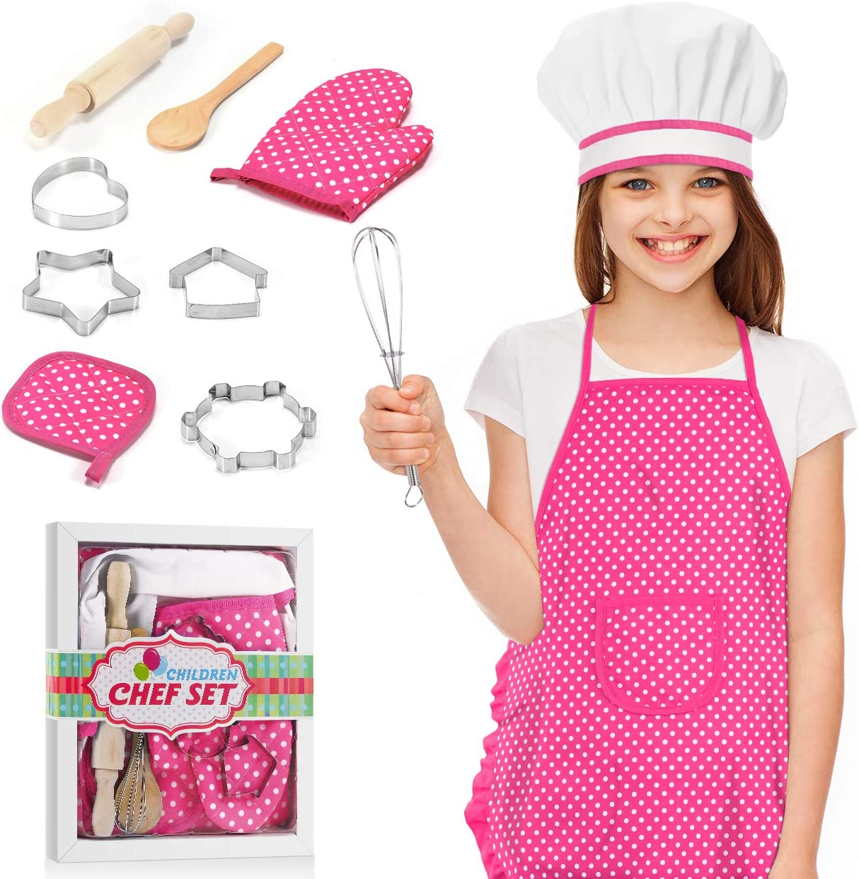 Gifts for 3-8 Year Old Girls, Chef Costume Set for Kids Toys for 3-8 Year Old Girls Chef Role Custome Cooking Toys Birthday Thanksgiving Gifts for Girls Age 4-8 Kids Cooking And Baking Set Pink