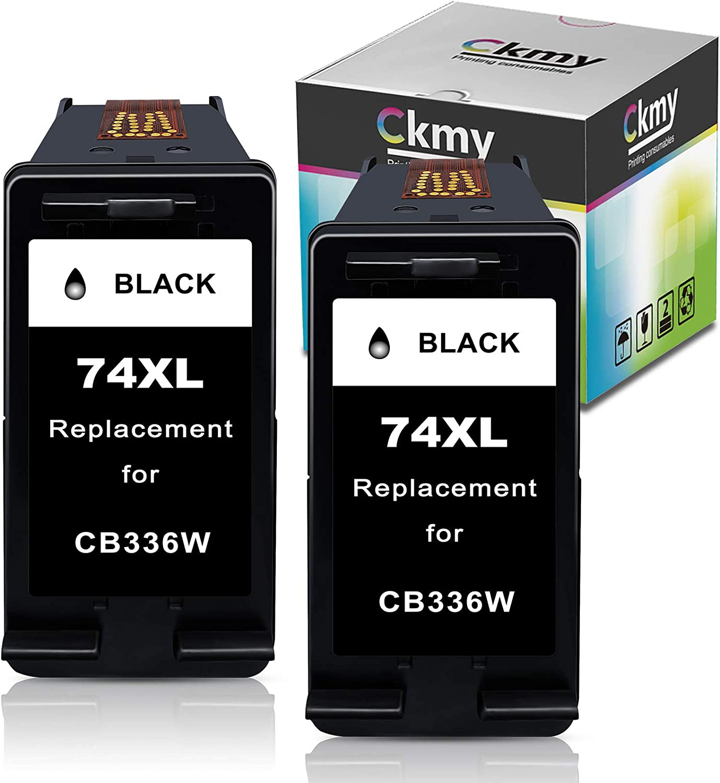 CKMY Remanufactured 74XL Ink Cartridges Replacement for HP 74 Twin Black Used for PhotoSmart C4280 C5280 C4480 C4250 C5550 C4400 C4580 C4200 DeskJet D4360 D4260 OfficeJet J5780 Printer ( 2 Blacks )