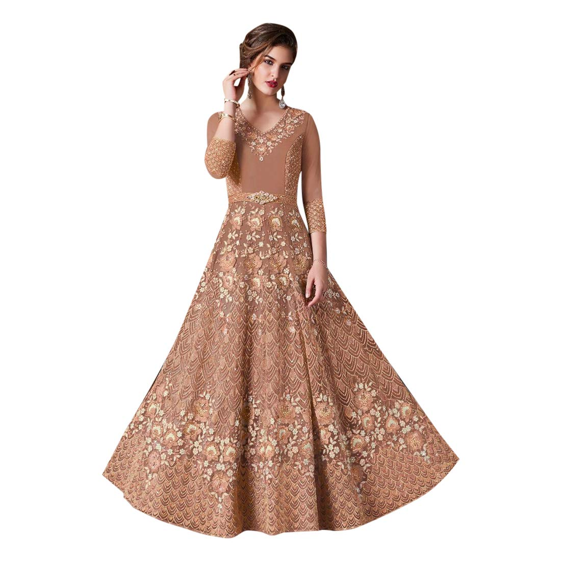 Designer Party Skirt style Gown Salwar Kameez suit Dupatta for Women Ethnic Indian Muslim dress 7708