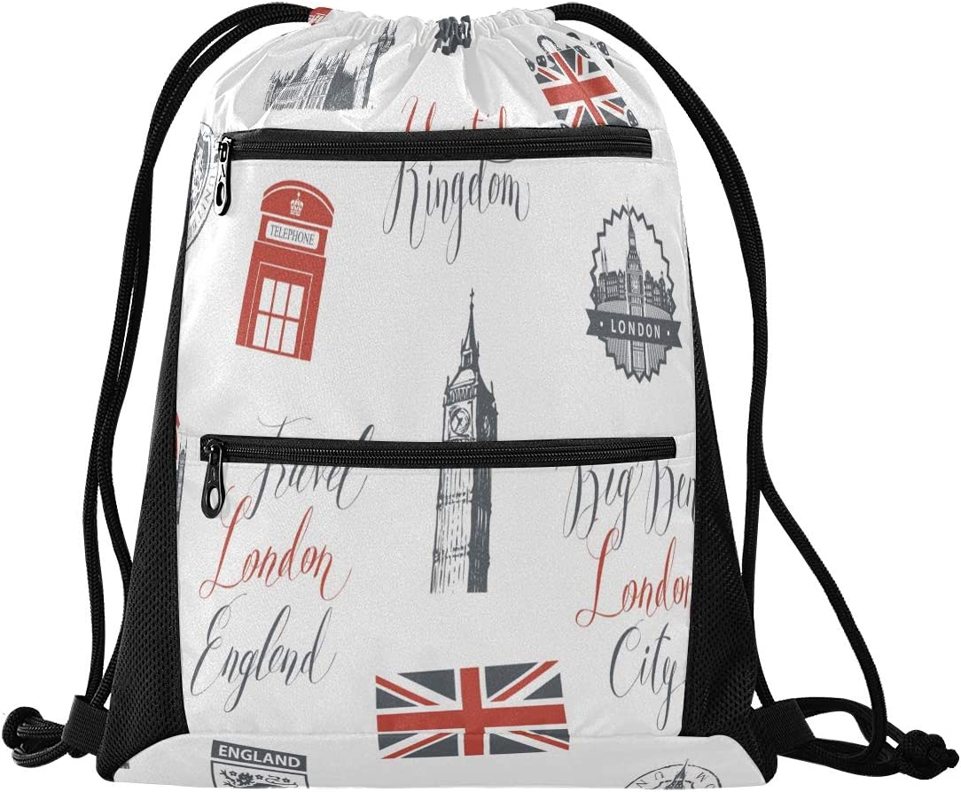 Drawstring Backpack Bags for Women Men Vector Seamless UK And London Gym String Sport Yoga Bag