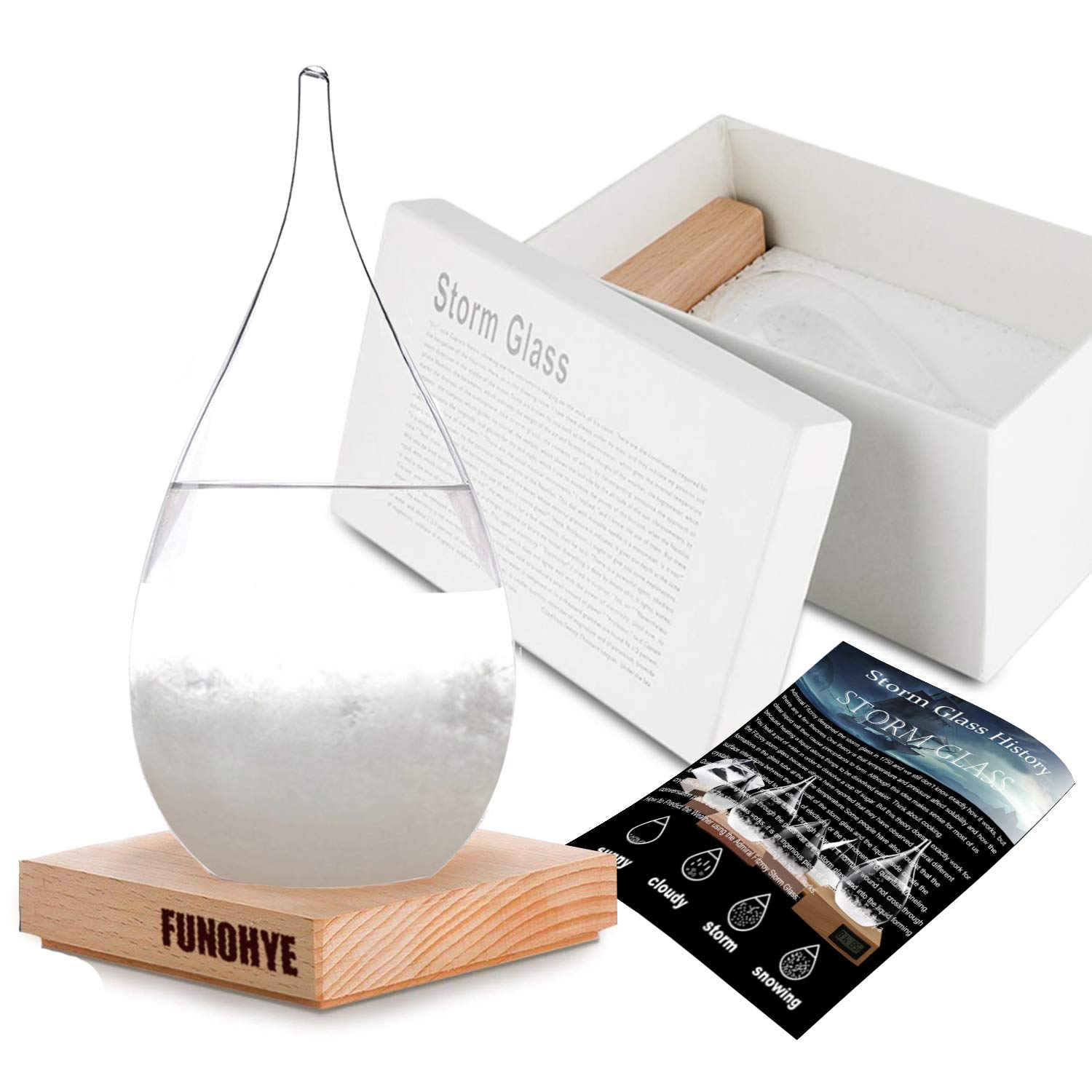 FUNOHYE Storm Glass Weather Stations Water Drop Weather Predictor Creative Forecast Bottle Nordic Style Decorative Weather Glass Decorative Centerpiece for Home Office (Large) by FUNOHYE