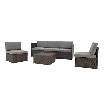 a0d98fdf2912 Image Unavailable. Image not available for. Color: Baner Garden K16CH 4  Piece Complete Outdoor Furniture Seating Patio Resin Wicker Rattan ...