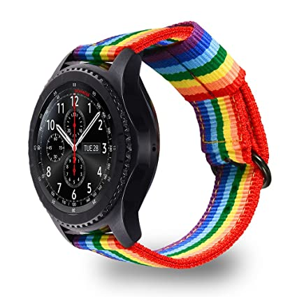 Bandmax Compatible Samsung Gear S3/ Frontier Band Nylon,22MM Rainbow Samsung Gear S3 Sport Band Strap Smartwatch Replacement Wristband Accessories ...