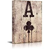 wall26 Poker Cards Canvas Wall Art - Spades Ace - Spades Ace on Wooden Style Background - Gallery Wrap Modern Home Decor | Ready to Hang - 24x36 inches