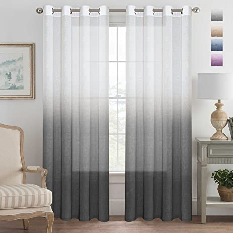 Grey Curtains Natural Linen Mixed Semi Sheer Curtains 96 Inches Long  Beautiful Ombre Sheer Window Elegant