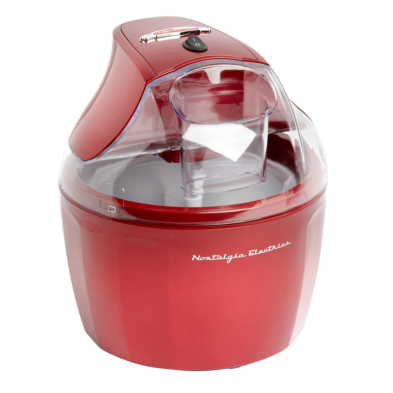 Nostalgia Ice Cream Maker | Stainless Steel 1.5 Quart Ice Cream Makers, Red