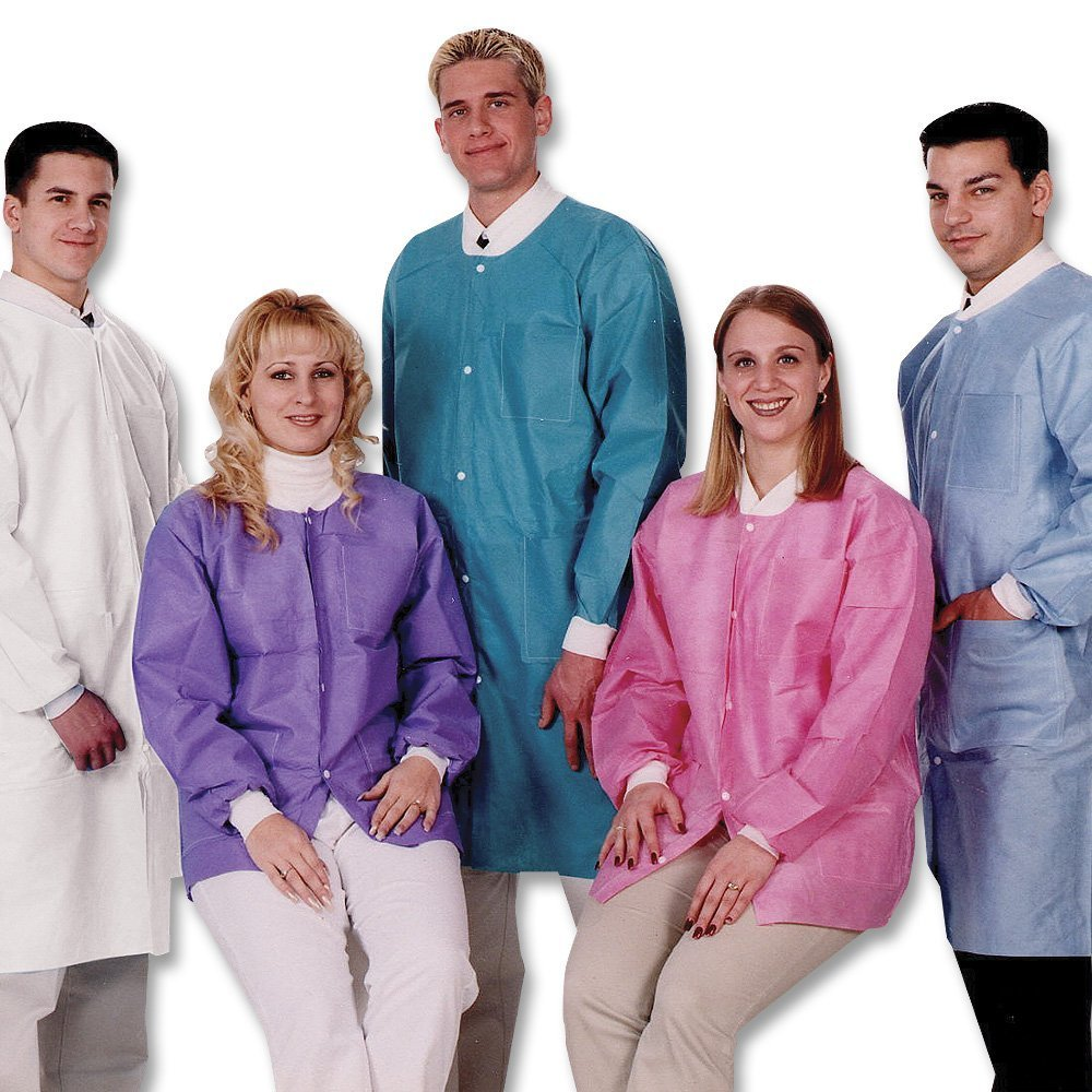 ValuMax 3660CBXL Extra-Safe, Wrinkle-Free, Noble Looking Disposable SMS Knee Length Lab Coat, Ceil Blue, XL, Pack of 10
