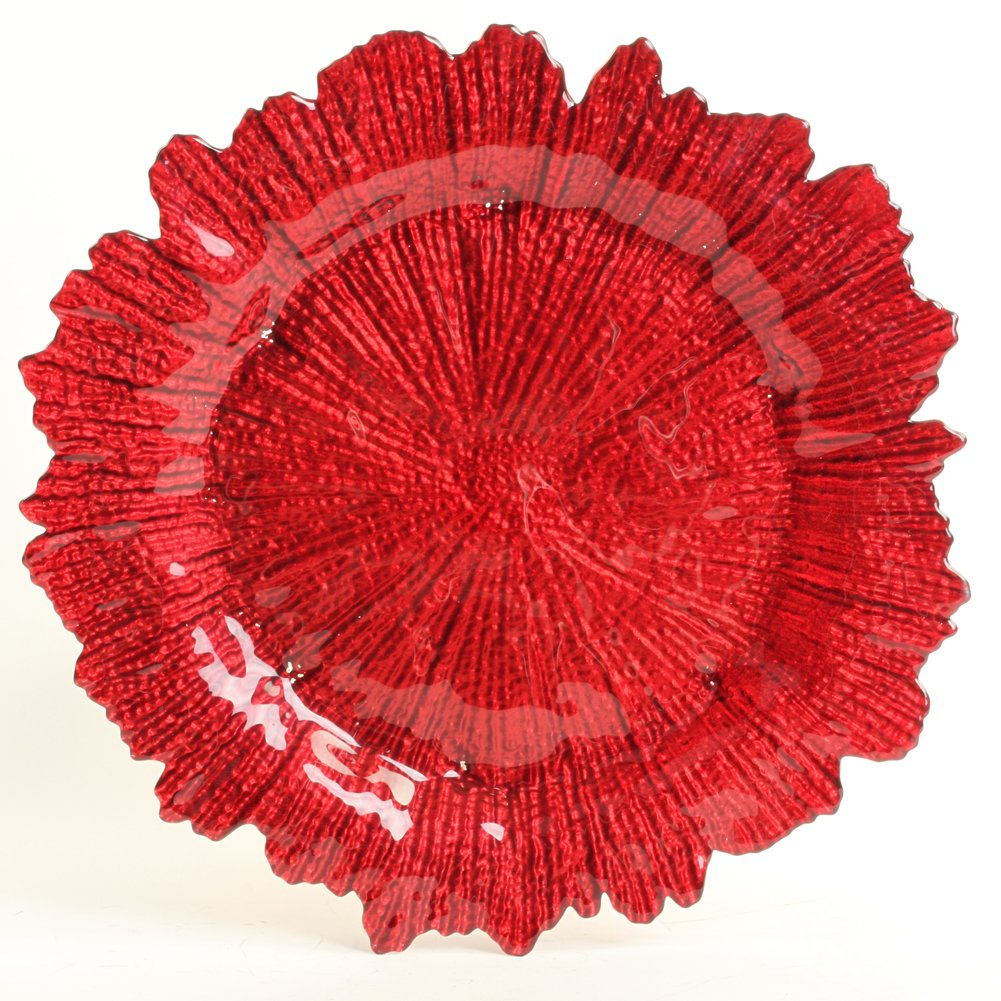 Koyal Wholesale Bulk Flora Glass Charger Plates, Set of 4, Red Starburst Charger Plates, Reef Charger Plates