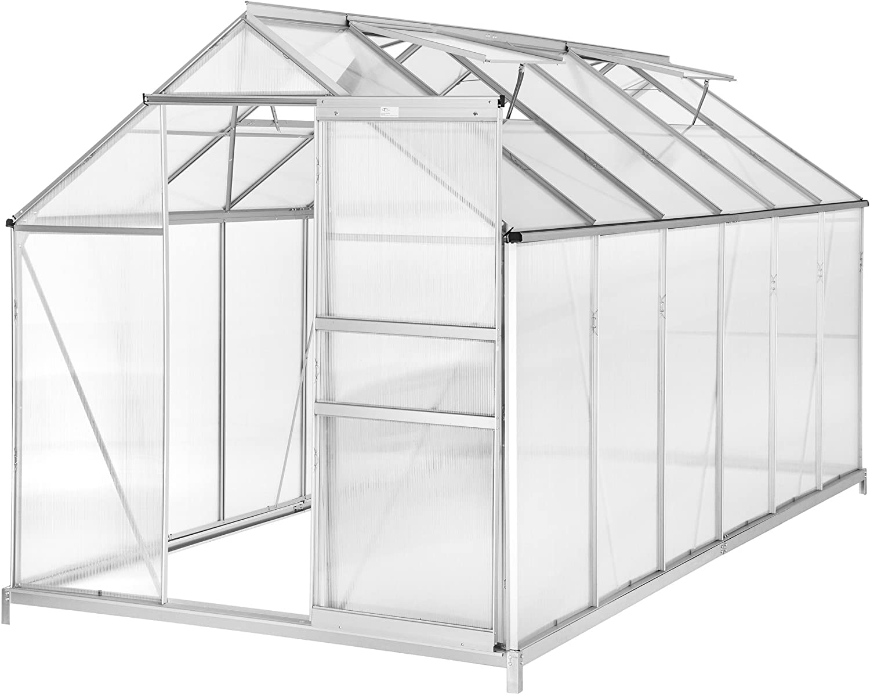 TecTake 800407 - Invernadero de Jardín, Policarbonato Transparente Aluminio, Ideal para Plantas Cultivos 375x185x195cm - Varios Modelos (375x185x195 cm con Base   No. 402478)
