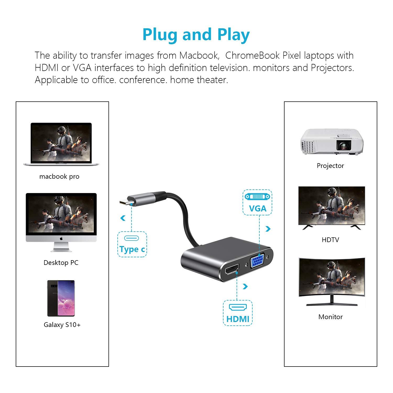 MacBook MacBook PRO 2017//2016 Hotott USB C Hub VGA HDMI MacBook Air 2 in 1 USB C a HDMI 4K @ 30Hz VGA 1080P per Apple iPad PRO 2018 Grigio Galaxy S10//S9 Plus//Note 8//S8//S8 Plus