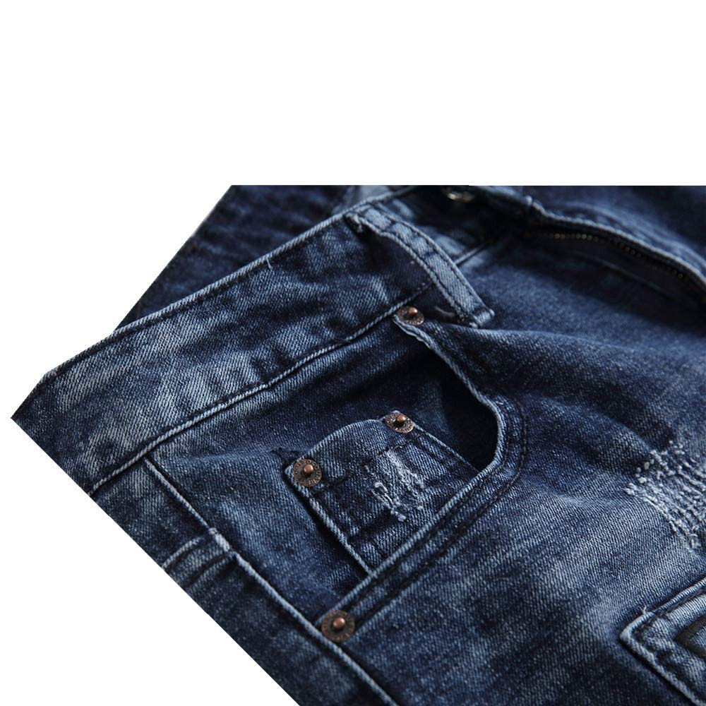 Milan Station Mens Casual Denim Ripped Embroidered Relaxed Fit Shorts Jeans