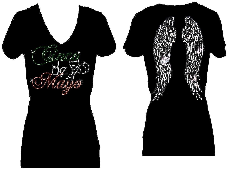 Cinco de Mayo Angel Wings Rhinestone V Neck Short Sleeve Tee Shirt