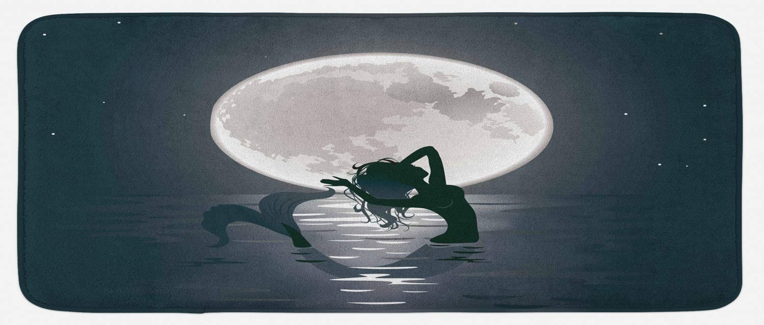 """Ambesonne Underwater Kitchen Mat, Mermaid Singing at Night Silhouette Full Moon Rays Mythical Ornament Art Print, Plush Decorative Kitchen Mat with Non Slip Backing, 47"""" X 19"""", Black Grey"""