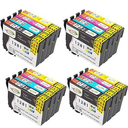 16 tintas trabajo T1281 T1282 T1283 T1284 para Epson Stylus SX435 W impresora (4 x T1281 4 x T1282 4 x T1283 4 x T1284) Multipack 4 juego completo ...