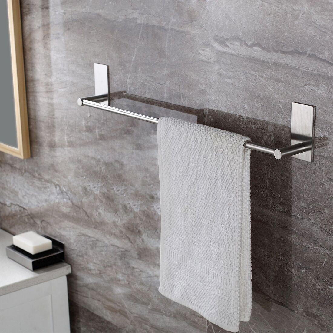 Leyden TM 3M Self Adhesive 16-Inch Stainless Steel Bathroom Single Towel Bar Holder Hanging Rack, Brushed Nickel