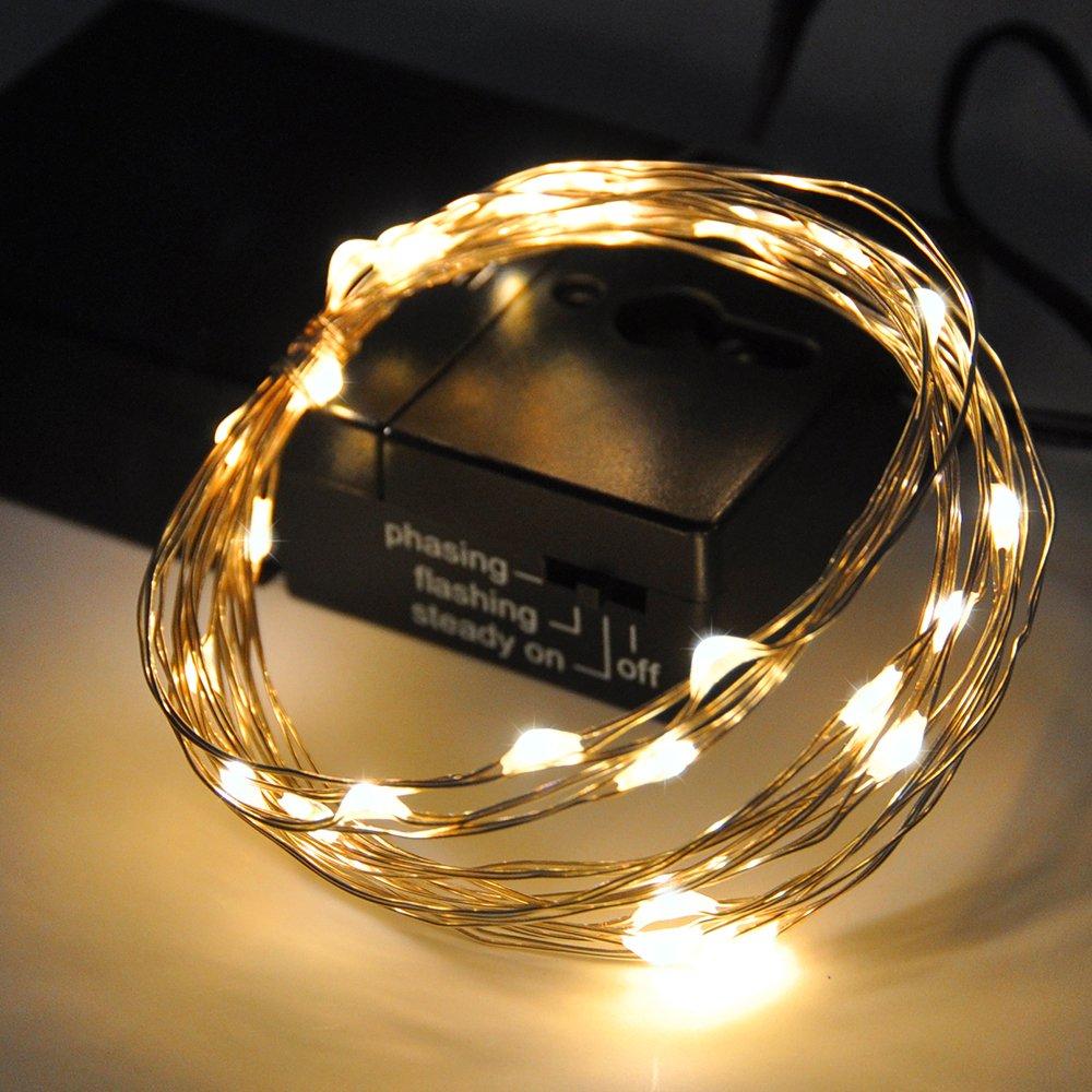 Catene Luminose Luce Stringa Filo di Rame Luci a LED Colorato Interno 30 LED 3 Metri Illuminazione di Oro con 3 Modalità Cassa di Batteria di Enuotek EN-N008-01