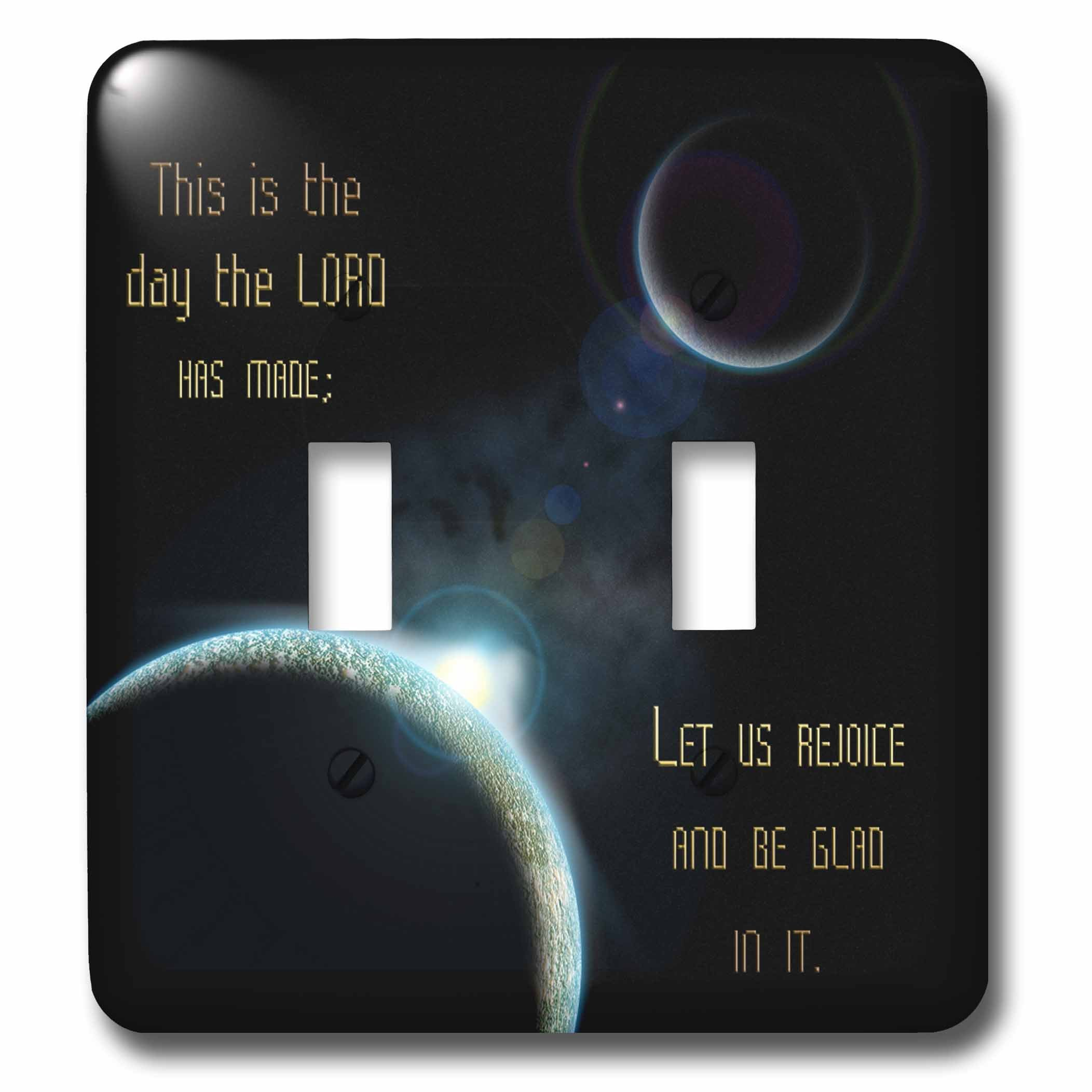 3dRose lsp_99100_2 A Sun Announcing A New Dawn Over A Solar System with The Bible Verse Psalm 118 Verse 24 - Double Toggle Switch
