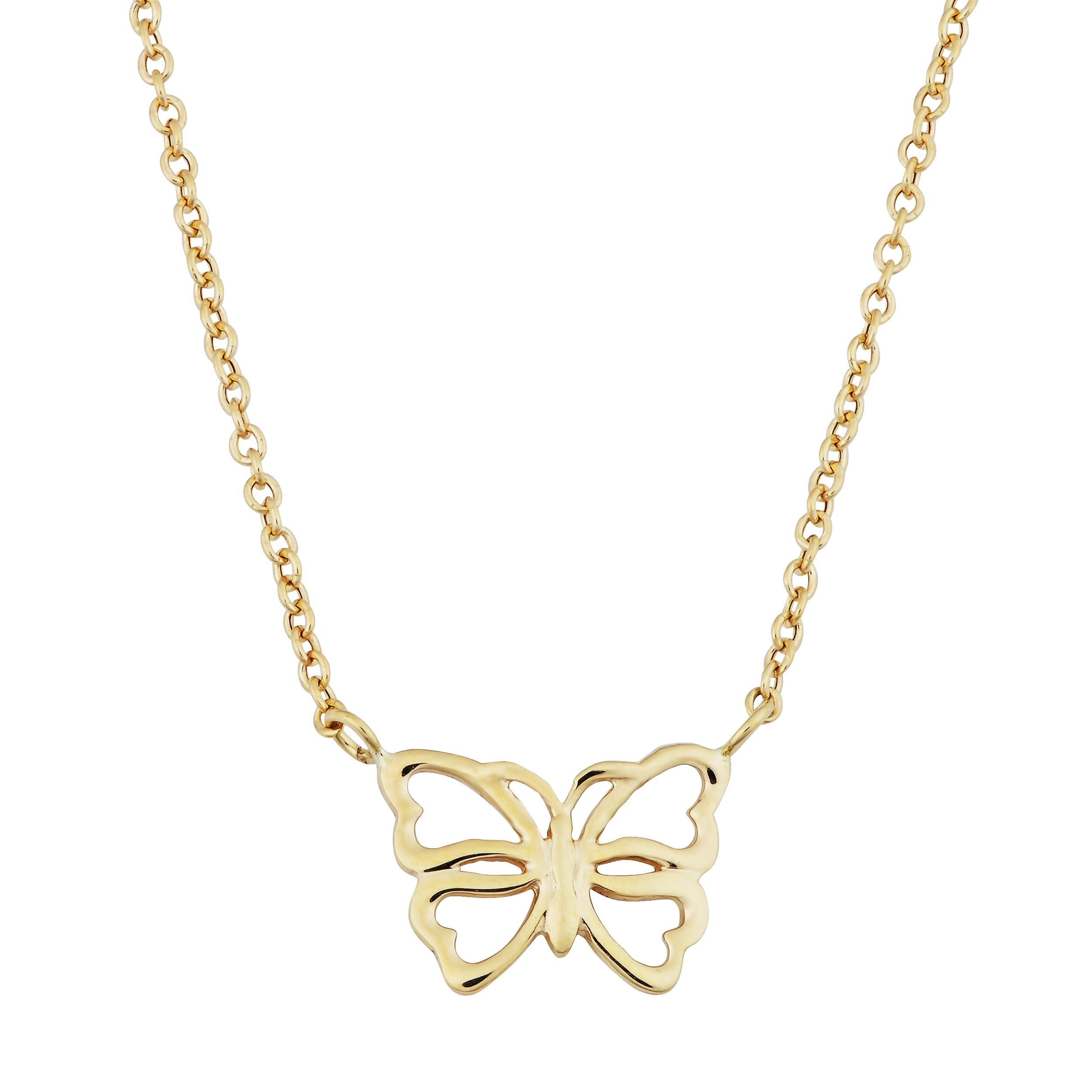 14k Yellow Gold Butterfly Adjustable Length Necklace (fits 17'' or 18'')