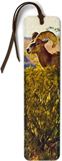 product image for Bighorn Sheep Ram Photograph by Mike DeCesare on Handmade Wooden Bookmark with Suede Tassel