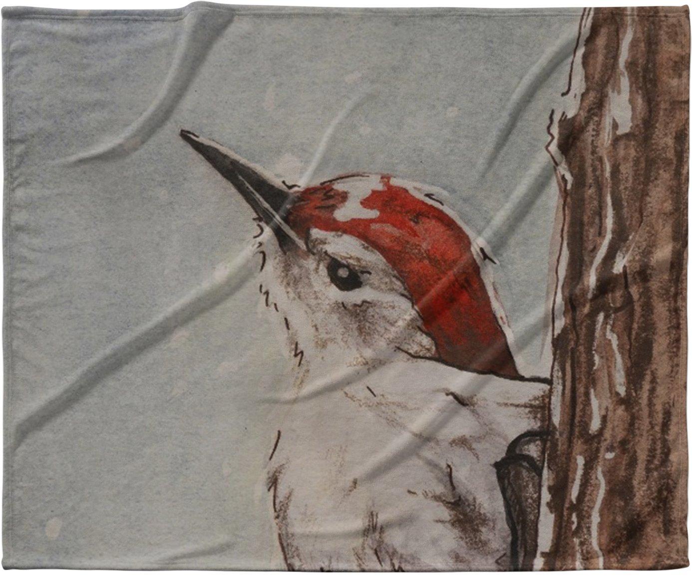 KESS InHouse Brittany Guarino ''Downy Woodpecker'' Fleece Baby Blanket, 40'' x 30''