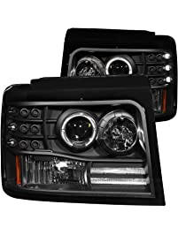 AnzoUSA 111184 Black Projector Halo Headlight with Side Marker and Parking Light for Ford F-150/F-250/Bronco -