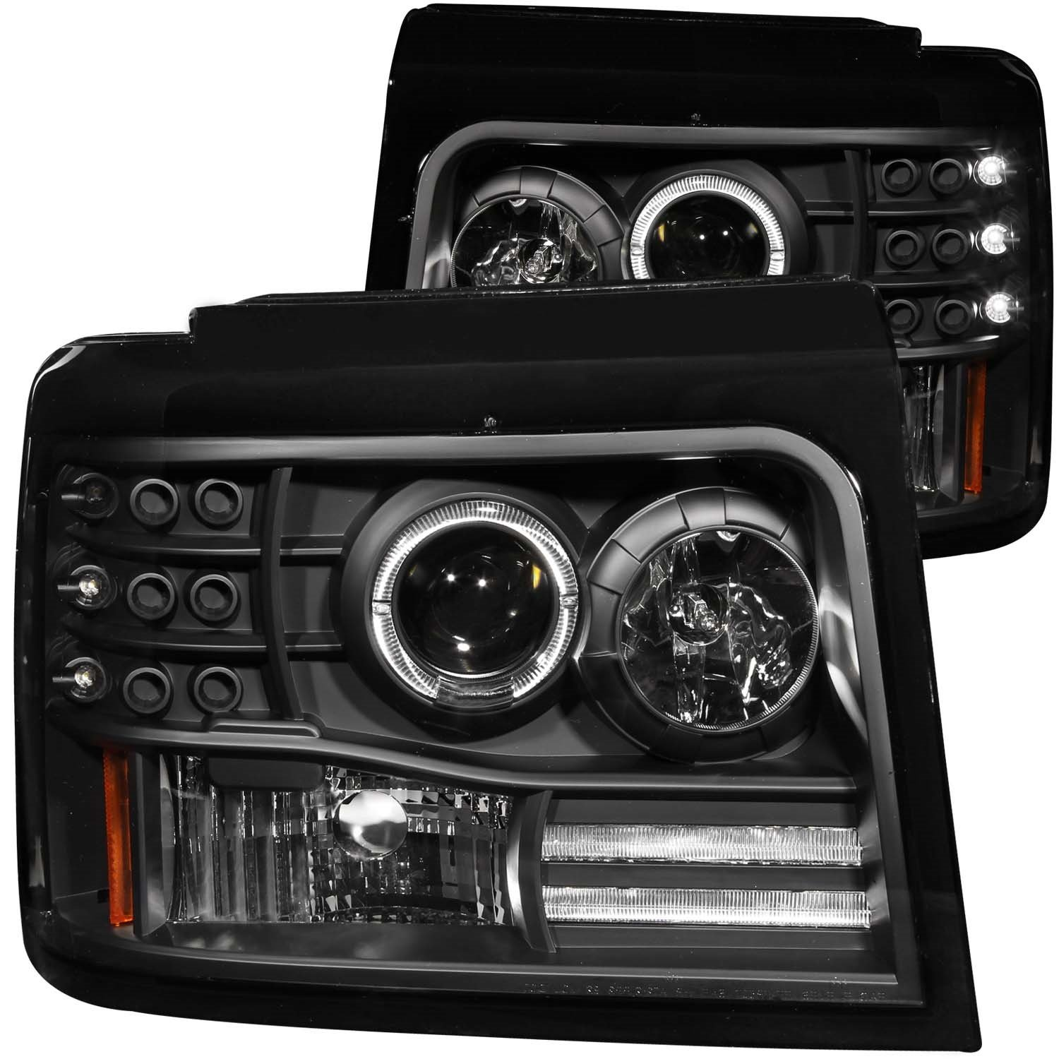 Sold in Pairs AnzoUSA 111183 Chrome Projector Halo Headlight with Side Marker and Parking Light for Ford F-150//F-250//Bronco