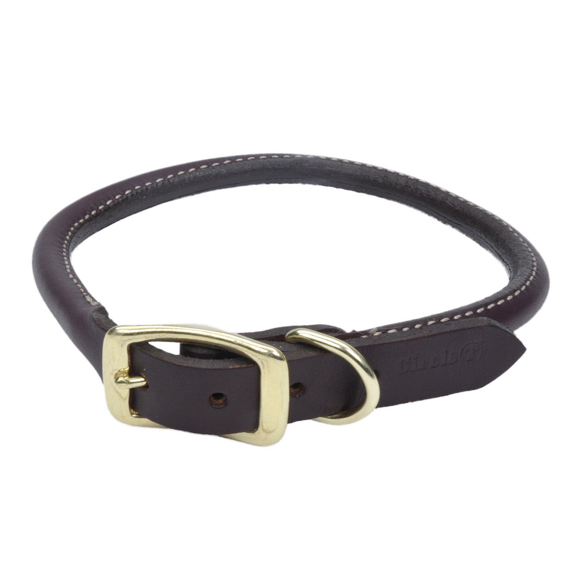 Coastal Pet Products Circle T Leather Round Dog Collar with Solid Brass Hardware, 3/4'' x 20'', Latigo