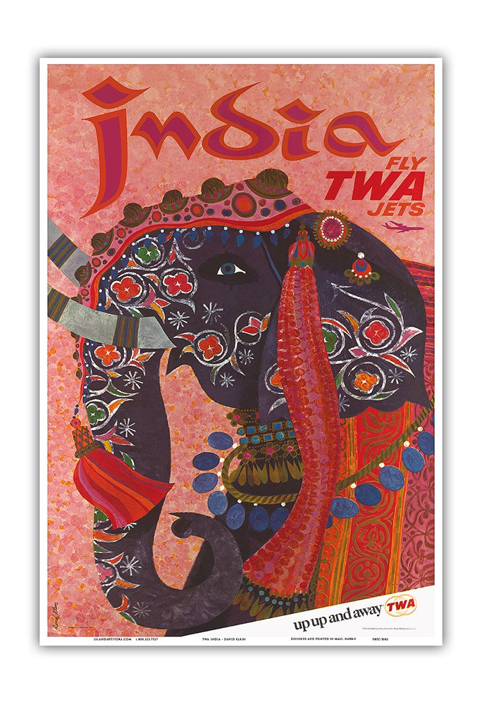 Pacifica Island Art India - Adorned Elephant - Trans World Airlines Fly TWA Jets - Vintage Airline Travel Poster by David Klein 1960 - Master Art Print - 13in x 19in