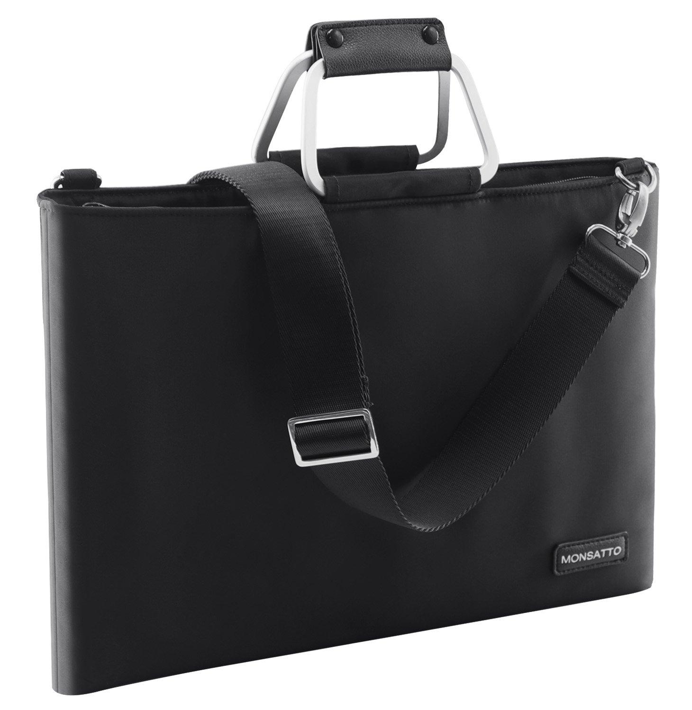 Multi-functional Nylon Notebook Laptop Sleeves, Men Women 15'' Business Office Bag Water-resistance Laptop Messenger Bag Briefcase Shoulder Bag for Ipad/Laptop/Tablet/Macbook/Notebook(Black)