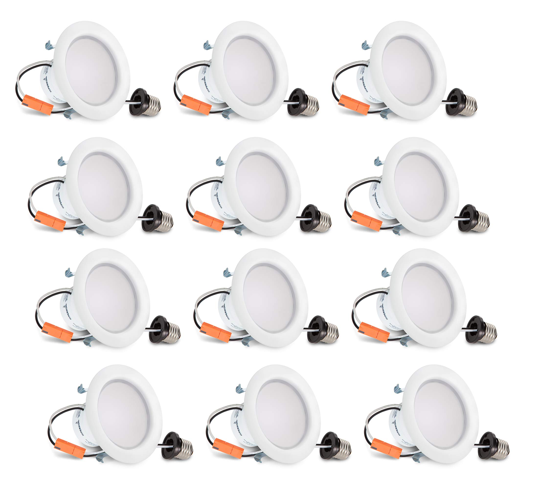 HyperSelect 4 Inch LED Recessed Lights, 9W (65 Watt), Non Dimmable Downlight, 4000K Daylight, 12 Pack