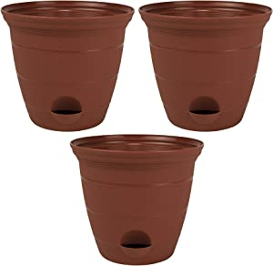 3 Pack 12-in. Plastic Self Watering Flower Plant Pot Garden Potted Planter, Clay Color