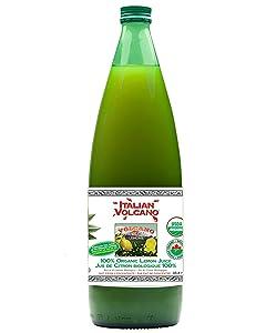Italian Volcano USDA Organic Lemon Juice 1 Liter Bottle - 2 Pack