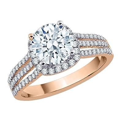 f4a88b164e3 KATARINA Diamond Halo Multi Row Engagement Ring in 14K Rose Gold (1 cttw