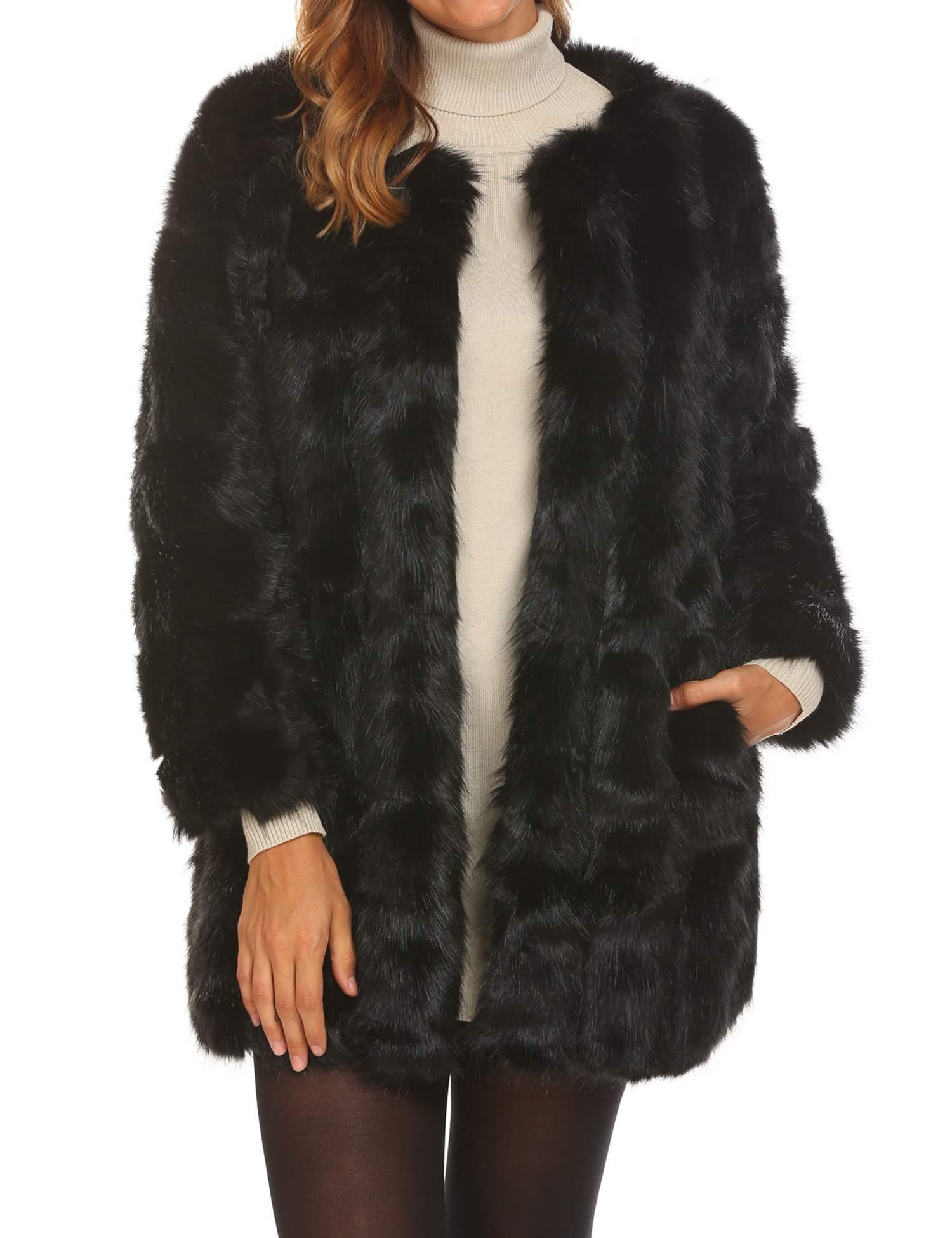 Soteer Women's Thick Outwear Winter Warm Long Faux Fur Coat Jackets Black XL by Soteer (Image #1)
