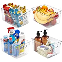 Sorbus Storage Bins Clear Plastic Organizer Container Holders with Handles – Versatile for Kitchen, Refrigerator…