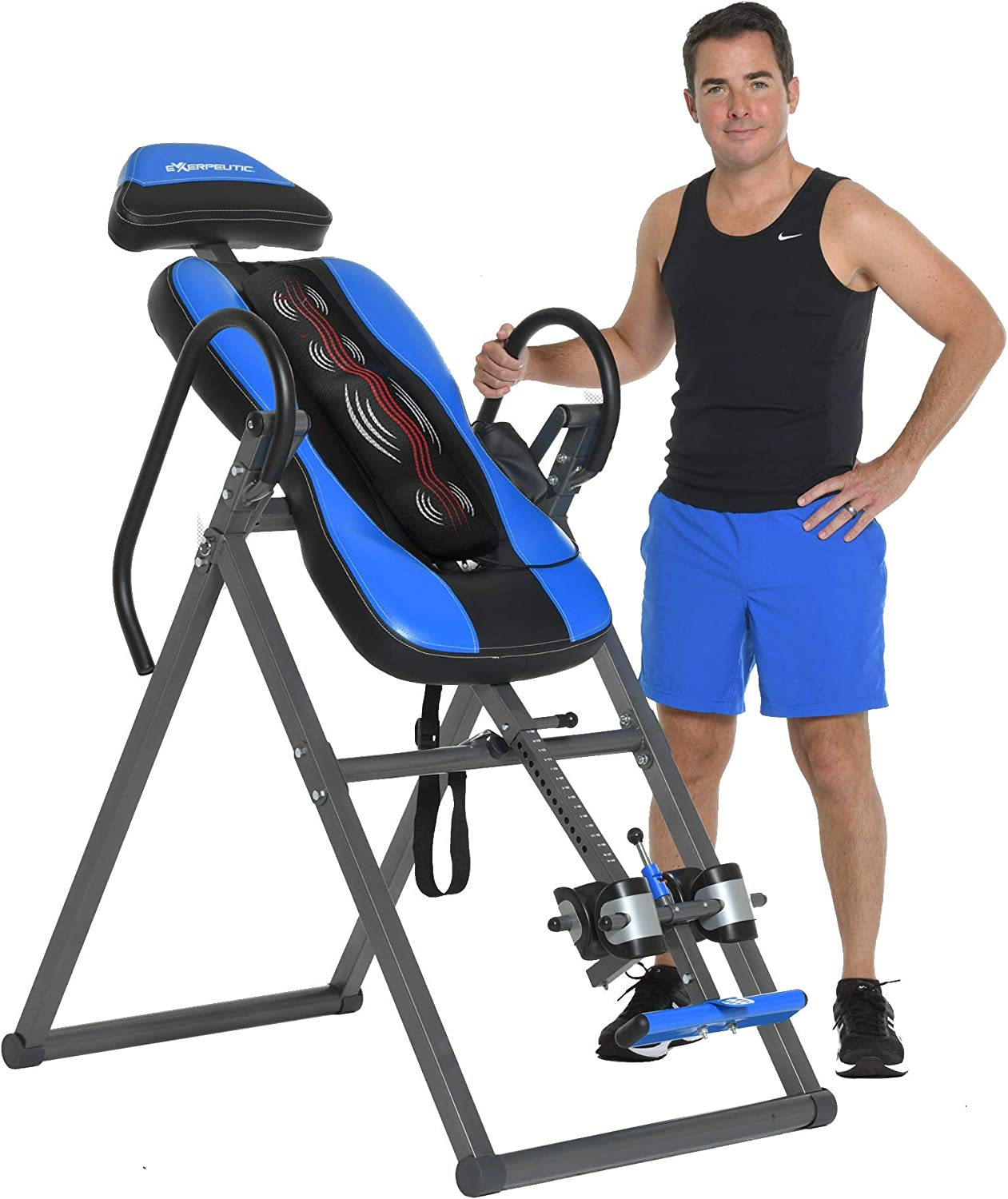 Exerpeutic Inversion Table UL Certified with Heat and Massage Therapy, Blue : Sports & Outdoors