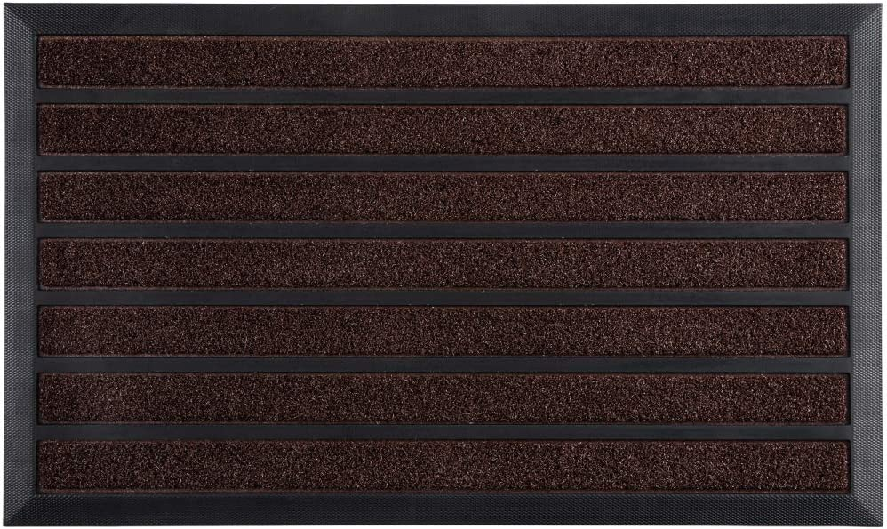 Gorilla Grip Striped Rubber Door Mat, 29x17, Indoor and Outdoor Stripe Doormats for High Traffic, Durable Heavy Duty Backing, Quick Dry and Easy Clean, Shoe Scraper Catches Mud and Dirt, Brown