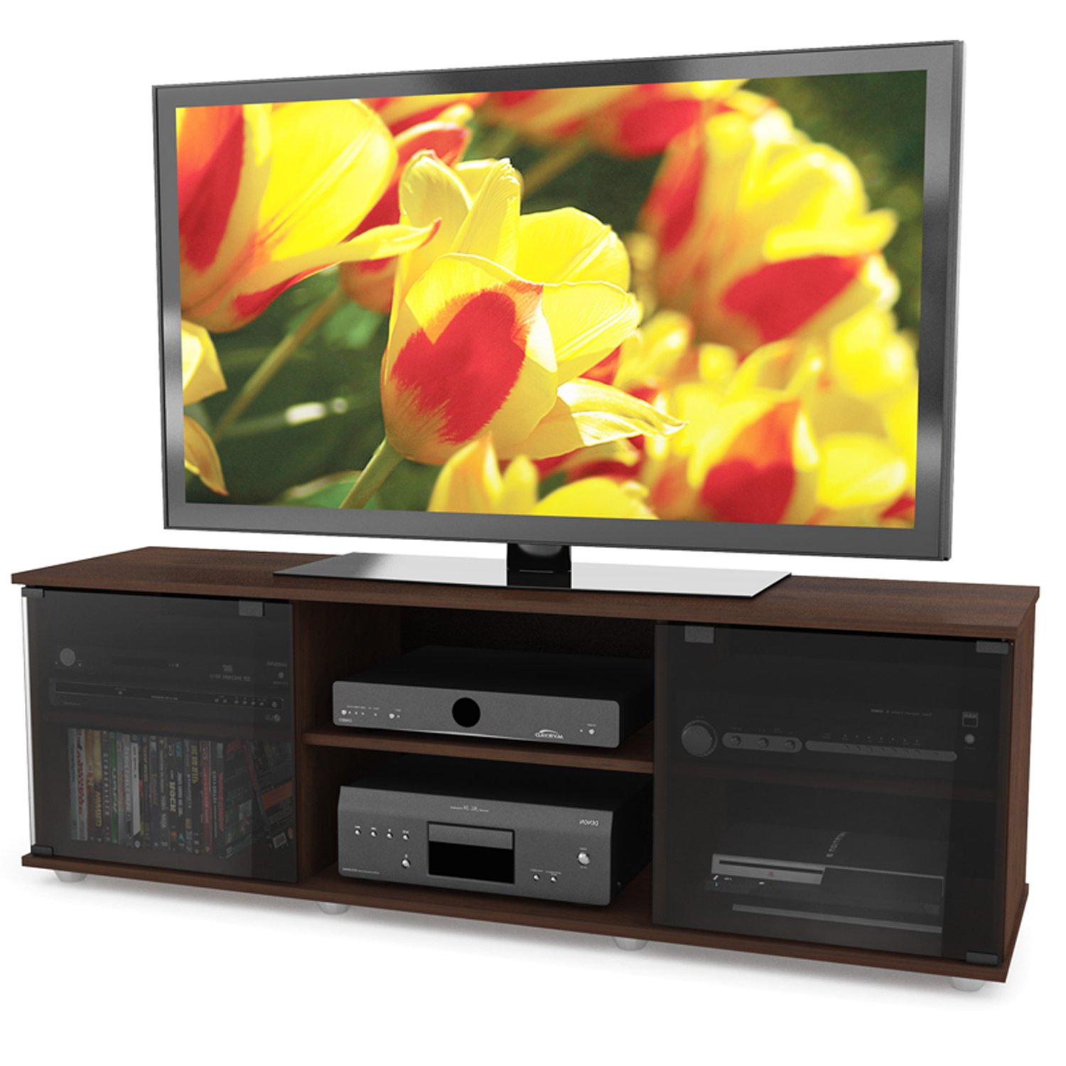 Sonax FB-2607 Fiji 60-Inch TV Component Bench, Brown