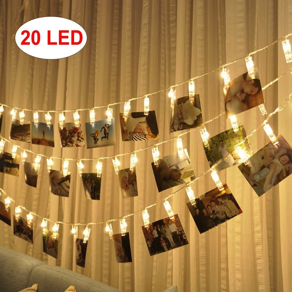 Amazon.com : KEKH 20 LED Photo Clips String Lights, Christmas Indoor ...