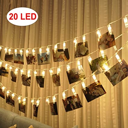kekh 20 led photo clips string lights christmas indoor fairy string lights hanging photos pictures