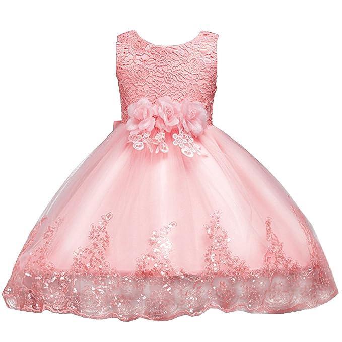 9c77faebf7 Amazon.com: IWEMEK Girls Elegant Tulle Lace Wedding Pageant Party ...