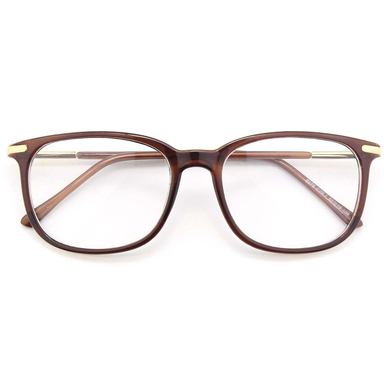 CGID CN79 High Fashion Metal Temple Horn Rimmed Clear Lens Eye Glasses Black Beige FBA8079a-05