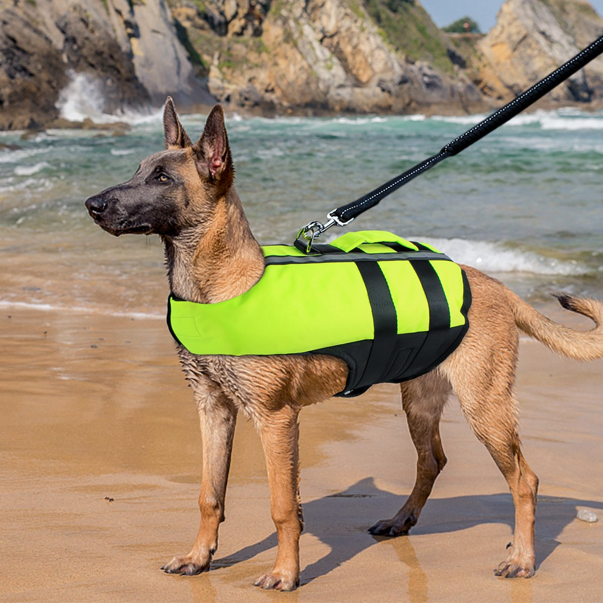 Namsan Dog Life Jacket - Folding Dog Life Vest,Portable Airbag Dog Swimming Jacket Vest,Green,Large