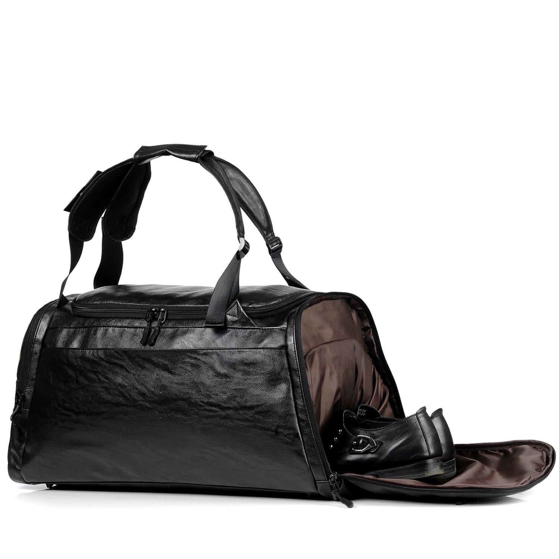 Gym Leather Bag Backpack Weekender Overnight Duffel Bag Men Travel Backpack Rucksack Gym Sports Luggage Tote For Men (Black)