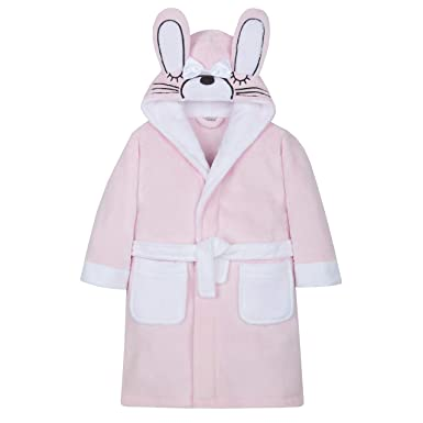 40e8210f5 Minikidz Girls Bunny Dressing Gown Robe Animal Ears Hooded Fleece ...