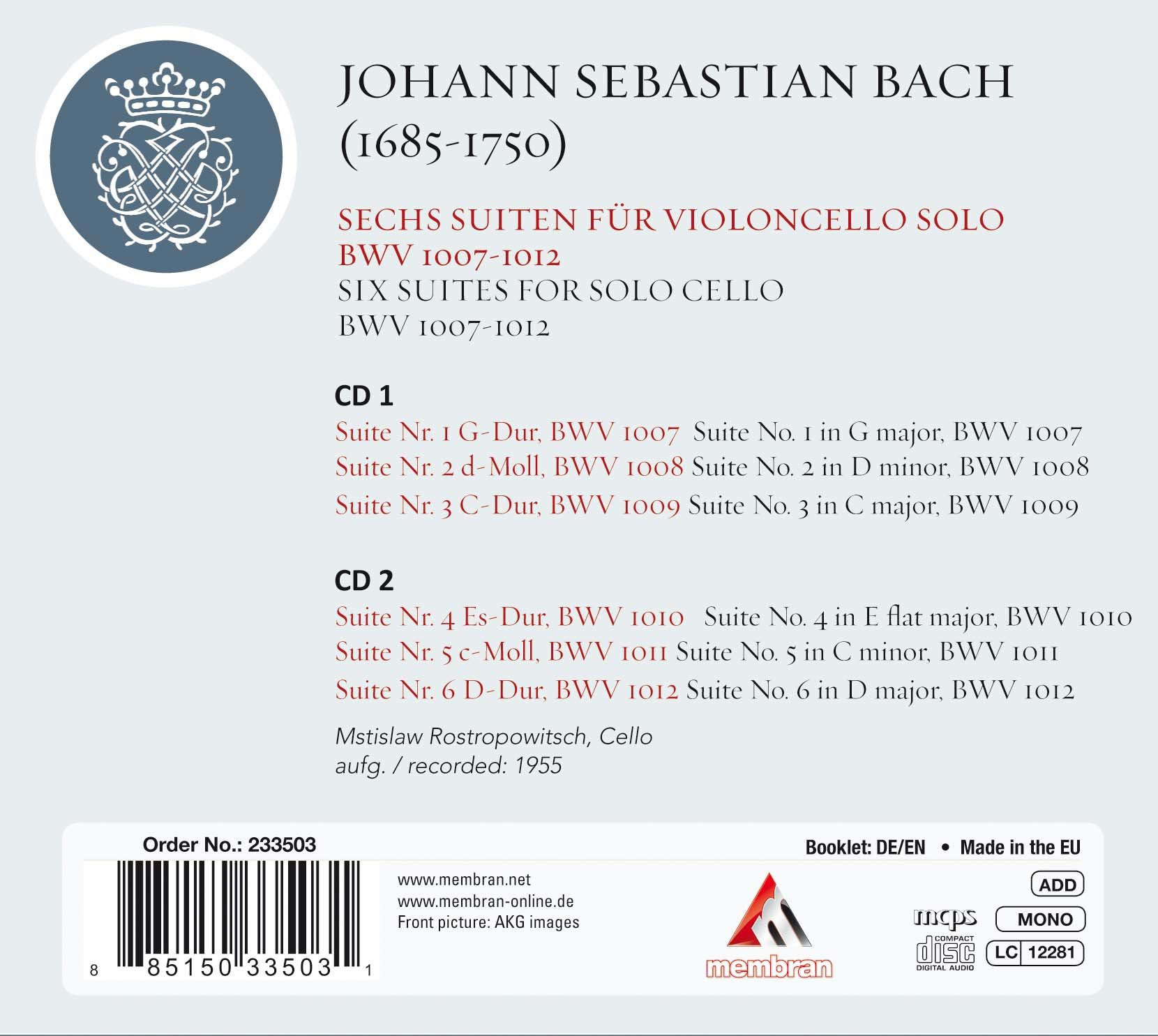 Bach Cello Suites (Six Suites for solo cello BWV 1007-1012) by MEMBRAN