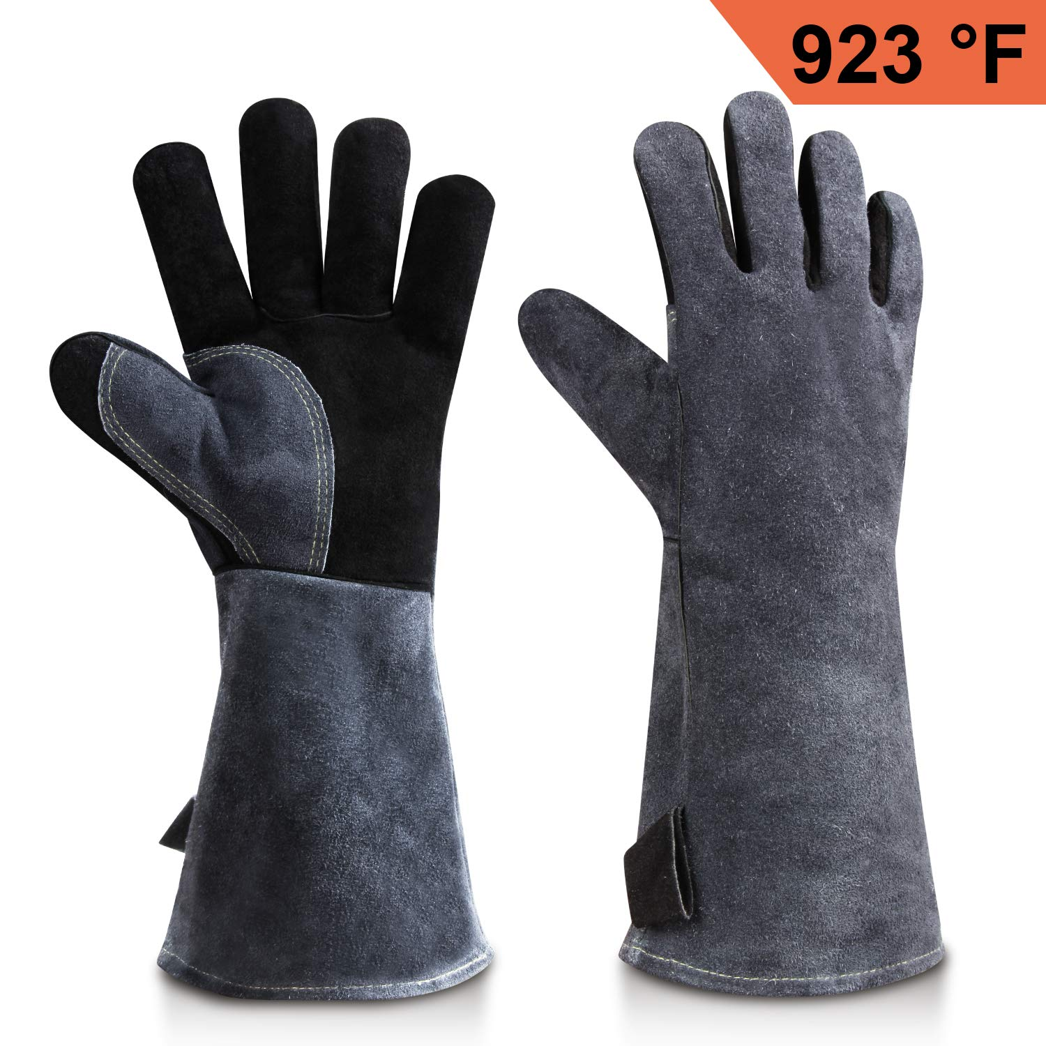 OZERO Welding BBQ Gloves, 932°F Heat Resistant Leather Grill Glove for Tig Welder/Grilling/Barbecue/Oven/Fireplace/Wood Stove - Long Sleeve and Insulated Cotton Lining - Black-gray(16-inch)